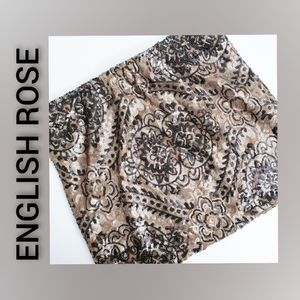 English Rose Sequined Skirt Mini Lined Brown Small